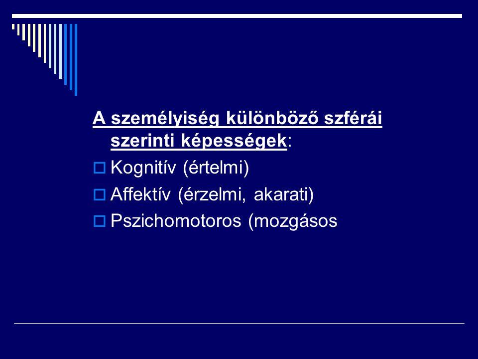 A személyiség különböző szférái szerinti képességek:  Kognitív (értelmi)  Affektív (érzelmi, akarati)  Pszichomotoros (mozgásos