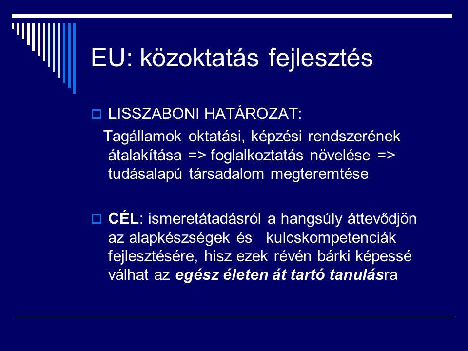 EU: közoktatás fejlesztés  LISSZABONI HATÁROZAT: Tagállamok oktatási, képzési rendszerének átalakítása => foglalkoztatás növelése => tudásalapú társa
