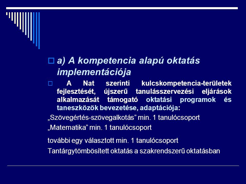  a) A kompetencia alapú oktatás implementációja  A Nat szerinti kulcskompetencia-területek fejlesztését, újszerű tanulásszervezési eljárások alkalma