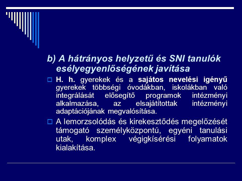b) A hátrányos helyzetű és SNI tanulók esélyegyenlőségének javítása  H. h. gyerekek és a sajátos nevelési igényű gyerekek többségi óvodákban, iskolák