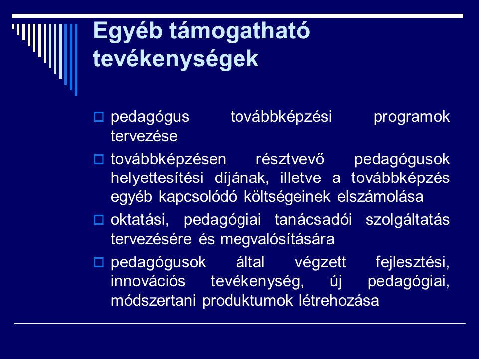 Egyéb támogatható tevékenységek  pedagógus továbbképzési programok tervezése  továbbképzésen résztvevő pedagógusok helyettesítési díjának, illetve a