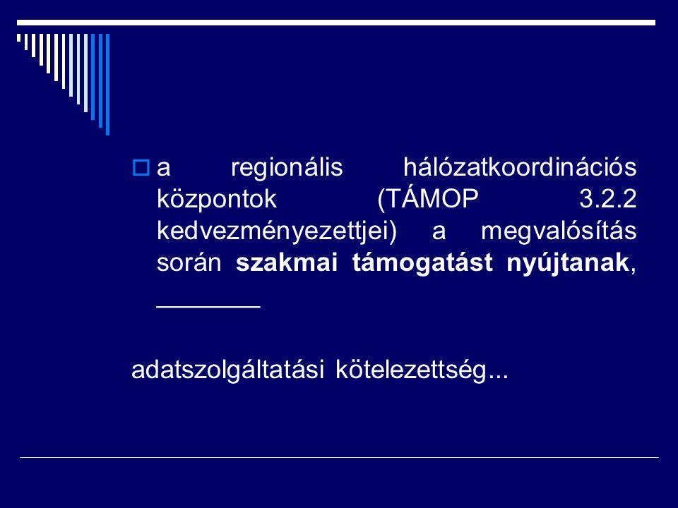  a regionális hálózatkoordinációs központok (TÁMOP 3.2.2 kedvezményezettjei) a megvalósítás során szakmai támogatást nyújtanak, _______ adatszolgálta