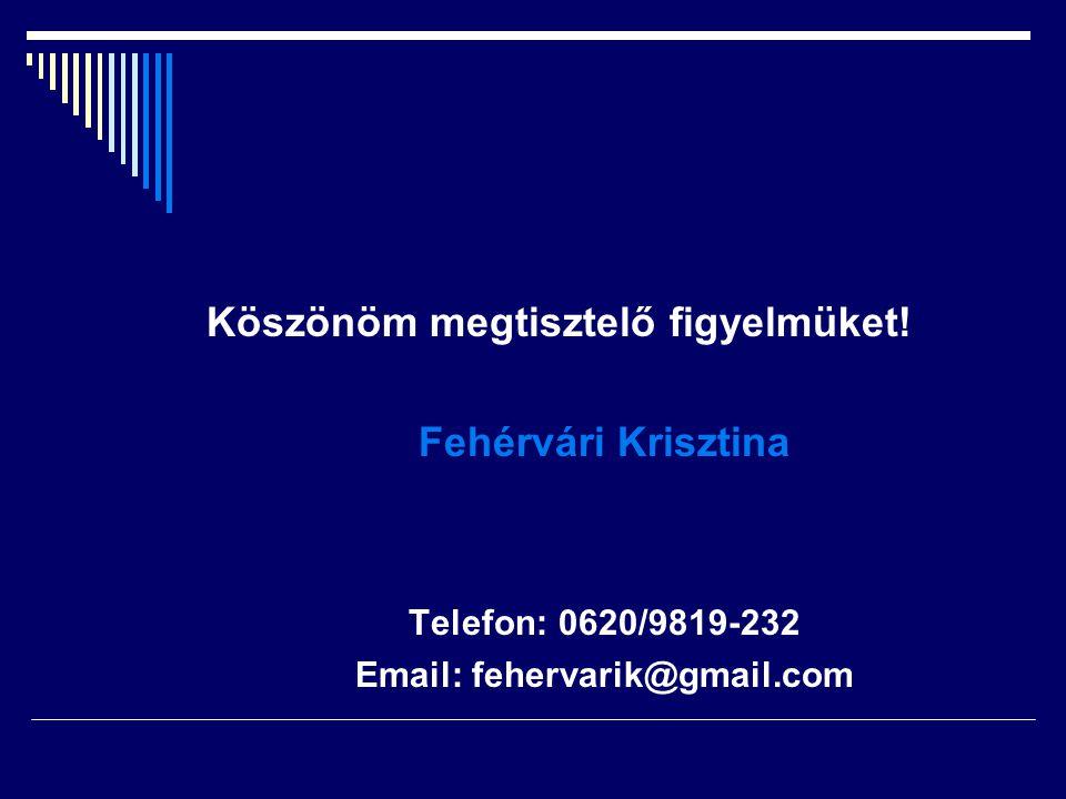 Köszönöm megtisztelő figyelmüket! Fehérvári Krisztina Telefon: 0620/9819-232 Email: fehervarik@gmail.com