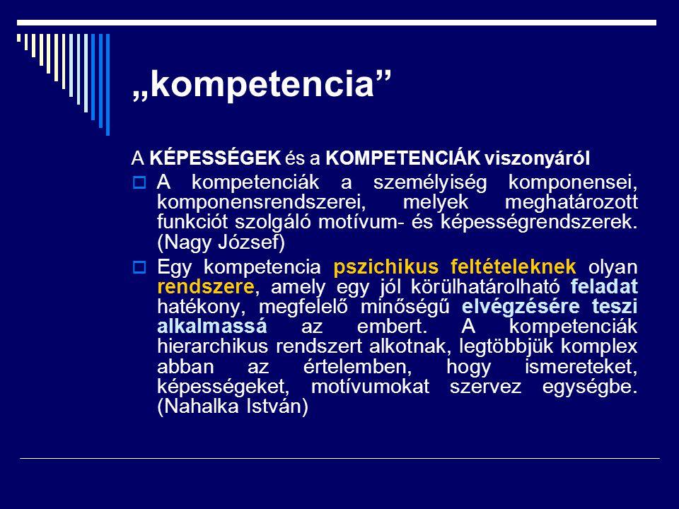 """""""kompetencia"""" A KÉPESSÉGEK és a KOMPETENCIÁK viszonyáról  A kompetenciák a személyiség komponensei, komponensrendszerei, melyek meghatározott funkció"""