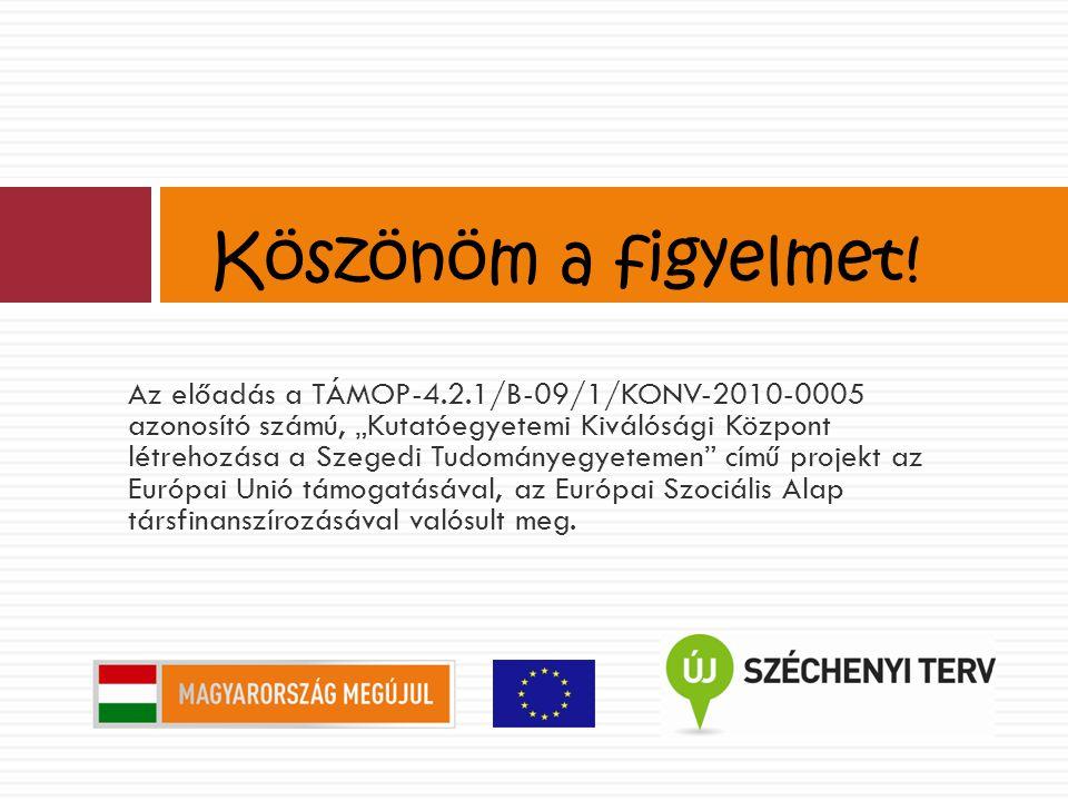 """Az előadás a TÁMOP-4.2.1/B-09/1/KONV-2010-0005 azonosító számú, """"Kutatóegyetemi Kiválósági Központ létrehozása a Szegedi Tudományegyetemen című projekt az Európai Unió támogatásával, az Európai Szociális Alap társfinanszírozásával valósult meg."""