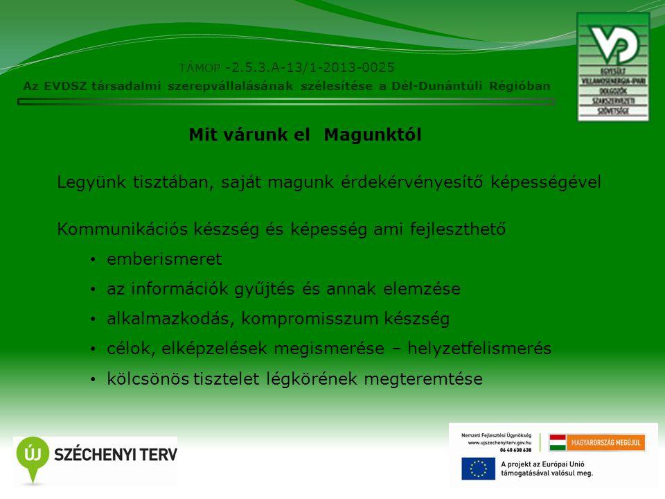 TÁMOP -2.5.3.A-13/1-2013-0025 Az EVDSZ társadalmi szerepvállalásának szélesítése a Dél-Dunántúli Régióban 4 Legyünk tisztában, saját magunk érdekérvényesítő képességével Kommunikációs készség és képesség ami fejleszthető emberismeret az információk gyűjtés és annak elemzése alkalmazkodás, kompromisszum készség célok, elképzelések megismerése – helyzetfelismerés kölcsönös tisztelet légkörének megteremtése Mit várunk elMagunktól