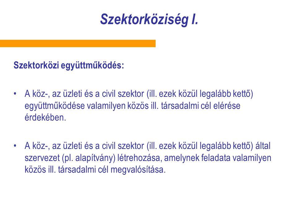 Szektorköziség I. Szektorközi együttműködés: A köz-, az üzleti és a civil szektor (ill. ezek közül legalább kettő) együttműködése valamilyen közös ill