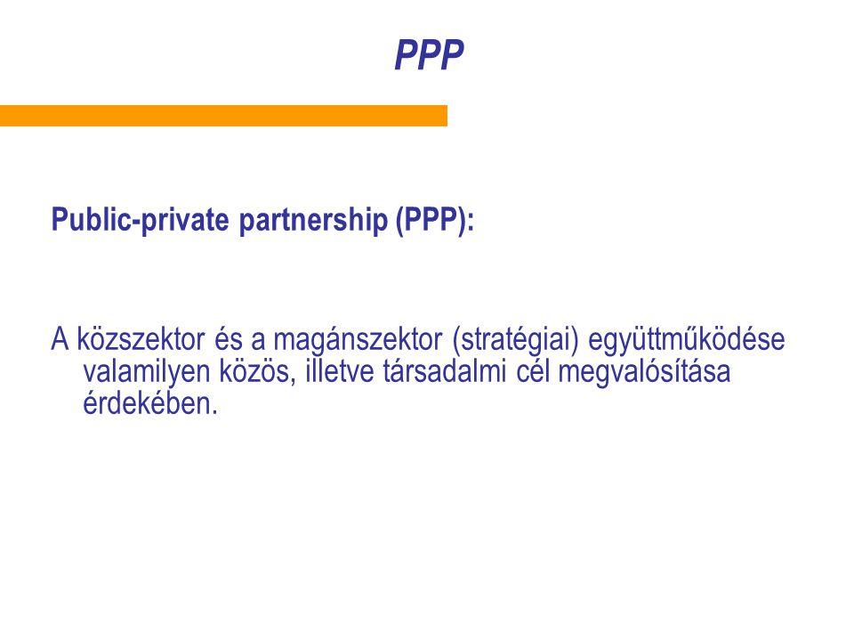 PPP Public-private partnership (PPP): A közszektor és a magánszektor (stratégiai) együttműködése valamilyen közös, illetve társadalmi cél megvalósítása érdekében.