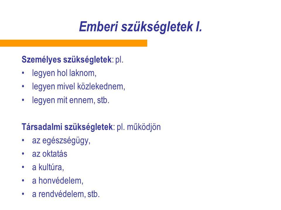 Emberi szükségletek I.Személyes szükségletek : pl.