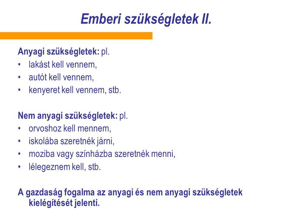 Emberi szükségletek II.Anyagi szükségletek: pl.
