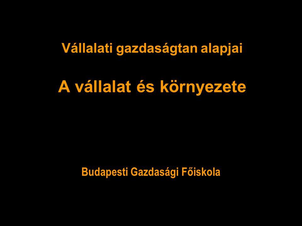 Vállalati gazdaságtan alapjai A vállalat és környezete Budapesti Gazdasági Főiskola