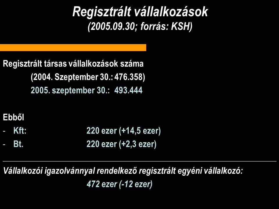 Regisztrált vállalkozások (2005.09.30; forrás: KSH) Regisztrált társas vállalkozások száma (2004.