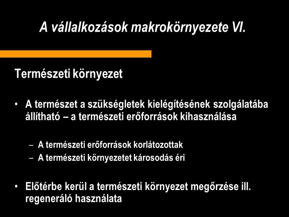 A vállalkozások makrokörnyezete VI.