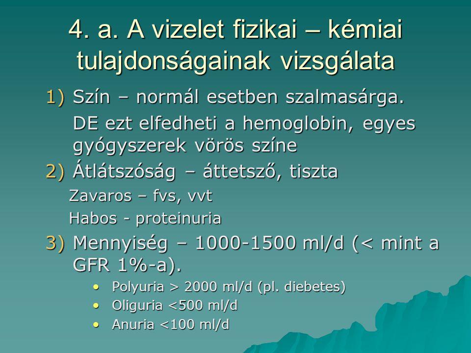 4. a. A vizelet fizikai – kémiai tulajdonságainak vizsgálata 1)Szín – normál esetben szalmasárga. DE ezt elfedheti a hemoglobin, egyes gyógyszerek vör