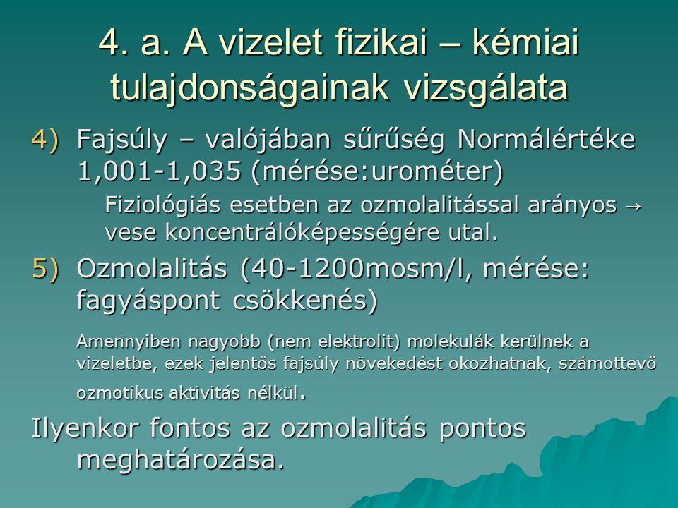 4. a. A vizelet fizikai – kémiai tulajdonságainak vizsgálata 4)Fajsúly – valójában sűrűség Normálértéke 1,001-1,035 (mérése:urométer) Fiziológiás eset