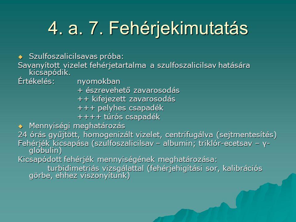4. a. 7. Fehérjekimutatás  Szulfoszalicilsavas próba: Savanyított vizelet fehérjetartalma a szulfoszalicilsav hatására kicsapódik. Értékelés: nyomokb