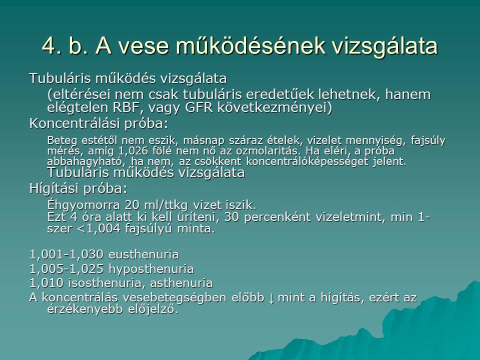 4. b. A vese működésének vizsgálata Tubuláris működés vizsgálata (eltérései nem csak tubuláris eredetűek lehetnek, hanem elégtelen RBF, vagy GFR követ