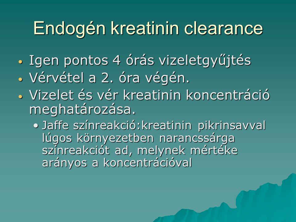 Endogén kreatinin clearance Igen pontos 4 órás vizeletgyűjtés Igen pontos 4 órás vizeletgyűjtés Vérvétel a 2. óra végén. Vérvétel a 2. óra végén. Vize