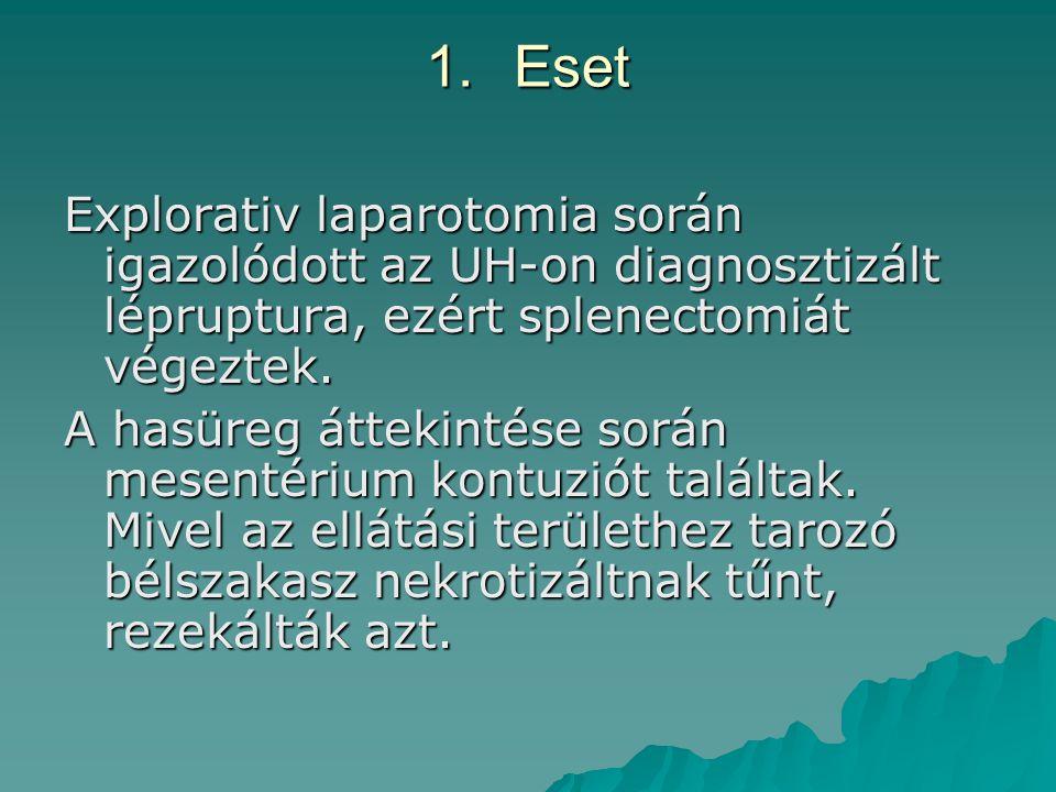 1.Eset Explorativ laparotomia során igazolódott az UH-on diagnosztizált lépruptura, ezért splenectomiát végeztek. A hasüreg áttekintése során mesentér