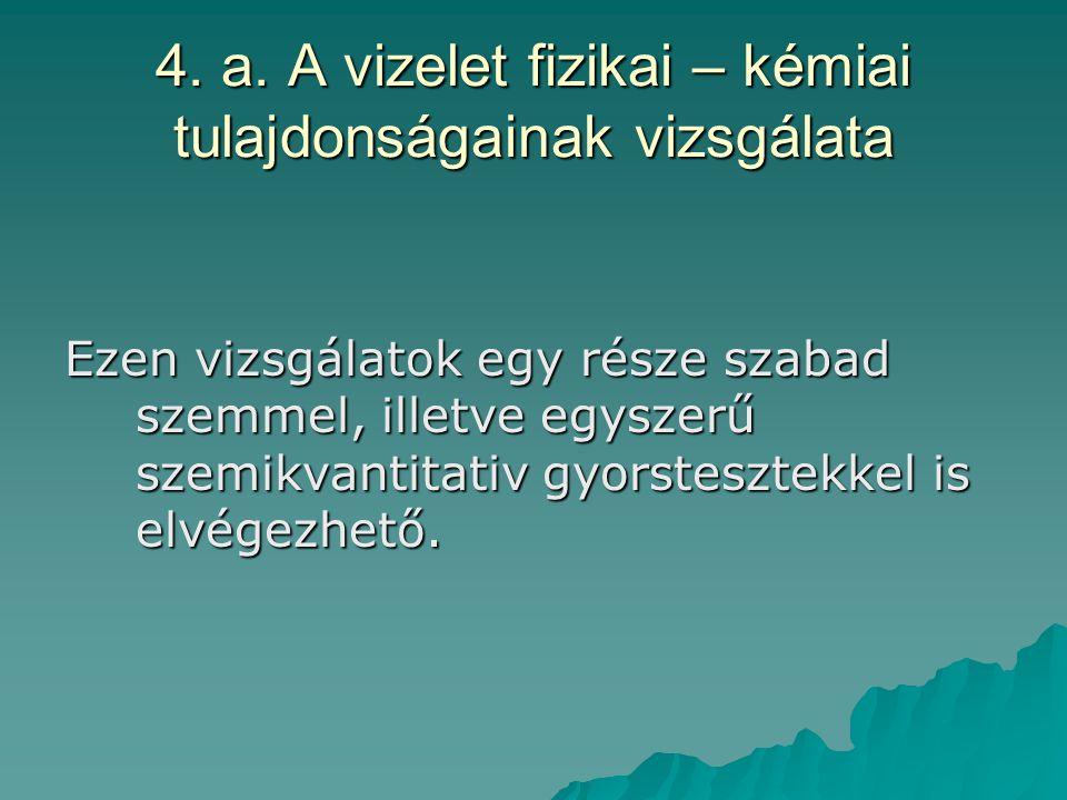 4.a. A vizelet fizikai – kémiai tulajdonságainak vizsgálata 1)Szín – normál esetben szalmasárga.