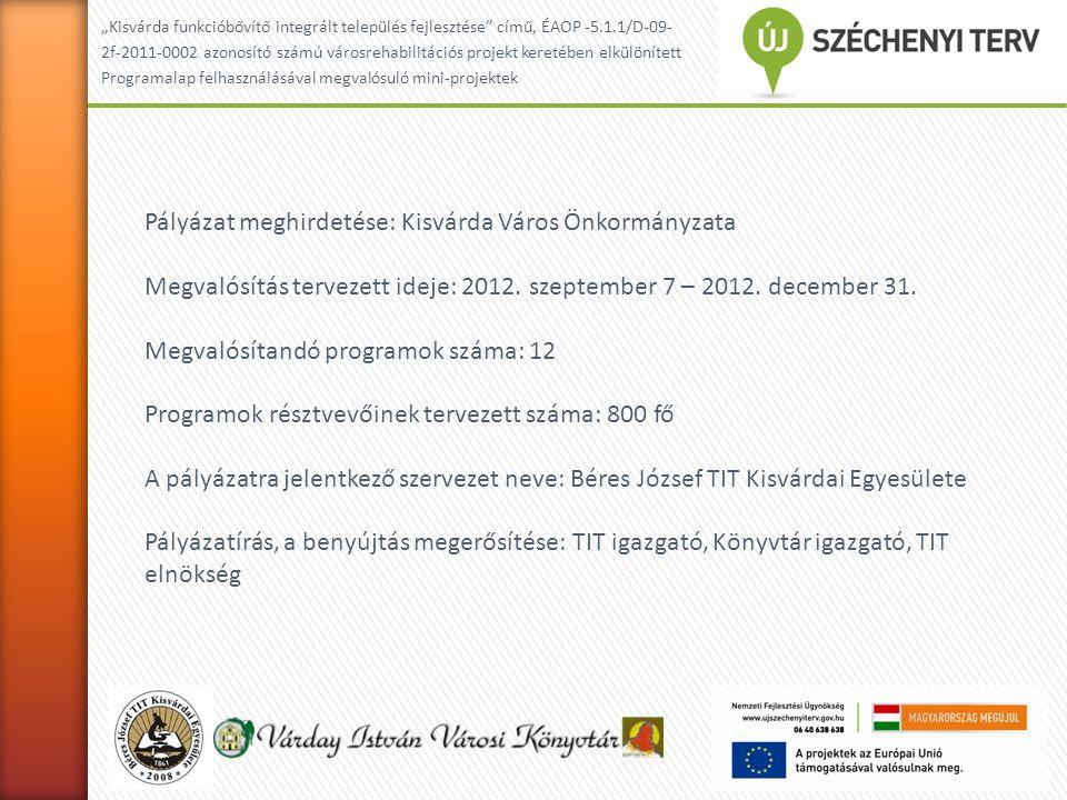 """""""Kisvárda funkcióbővítő integrált település fejlesztése című, ÉAOP -5.1.1/D-09- 2f-2011-0002 azonosító számú városrehabllitációs projekt keretében elkülönített Programalap felhasználásával megvalósuló mini-projektek A program koncepciója:  A városi rehabilitációhoz kapcsolódó """"miniprogram  A program névadója az első ismert reneszánsz költőnő: Telegdi Kata  Megjeleníteni és megismertetni a középkortól napjainkig tartó városi fejlődést – társadalmi- gazdasági viszonyok, művelődés, irodalmi élet  Helyi identitás erősítése, az európai gondolkodásmód megjelenítése  Kisvárda körzetében alkotó költők-írók bemutatása (Döge – Ölbey Irén, Anarcs – Czóbel Minka, Tuzsér – Krúdy Gyula )  Testvérvárosi kapcsolat szélesítése – Királyhelmec, Munkács és Kisvárda alkotóinak bemutatkozása  A névadó fia, ifj."""