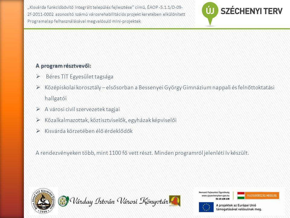 """""""Kisvárda funkcióbővítő integrált település fejlesztése című, ÉAOP -5.1.1/D-09- 2f-2011-0002 azonosító számú városrehabilitációs projekt keretében elkülönített Programalap felhasználásával megvalósuló mini-projektek A program résztvevői:  Béres TIT Egyesület tagsága  Középiskolai korosztály – elsősorban a Bessenyei György Gimnázium nappali és felnőttoktatási hallgatói  A városi civil szervezetek tagjai  Közalkalmazottak, köztisztviselők, egyházak képviselői  Kisvárda körzetében élő érdeklődők A rendezvényeken több, mint 1100 fő vett részt."""