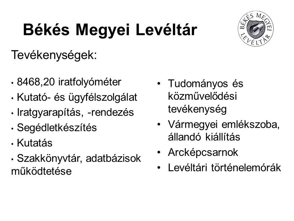 Békés Megyei Levéltár Tevékenységek: 8468,20 iratfolyóméter Kutató- és ügyfélszolgálat Iratgyarapítás, -rendezés Segédletkészítés Kutatás Szakkönyvtár