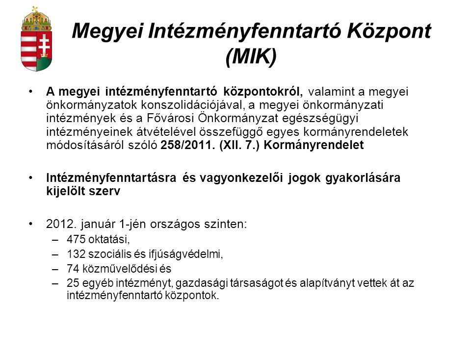 Megyei Intézményfenntartó Központ (MIK) A megyei intézményfenntartó központokról, valamint a megyei önkormányzatok konszolidációjával, a megyei önkorm