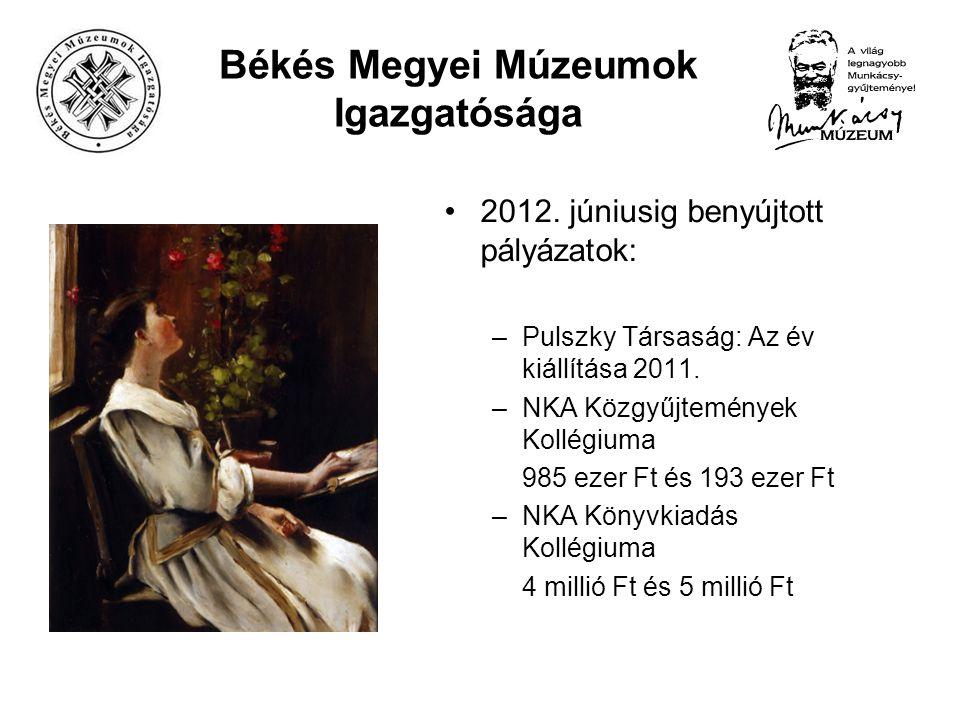 Békés Megyei Múzeumok Igazgatósága 2012. júniusig benyújtott pályázatok: –Pulszky Társaság: Az év kiállítása 2011. –NKA Közgyűjtemények Kollégiuma 985