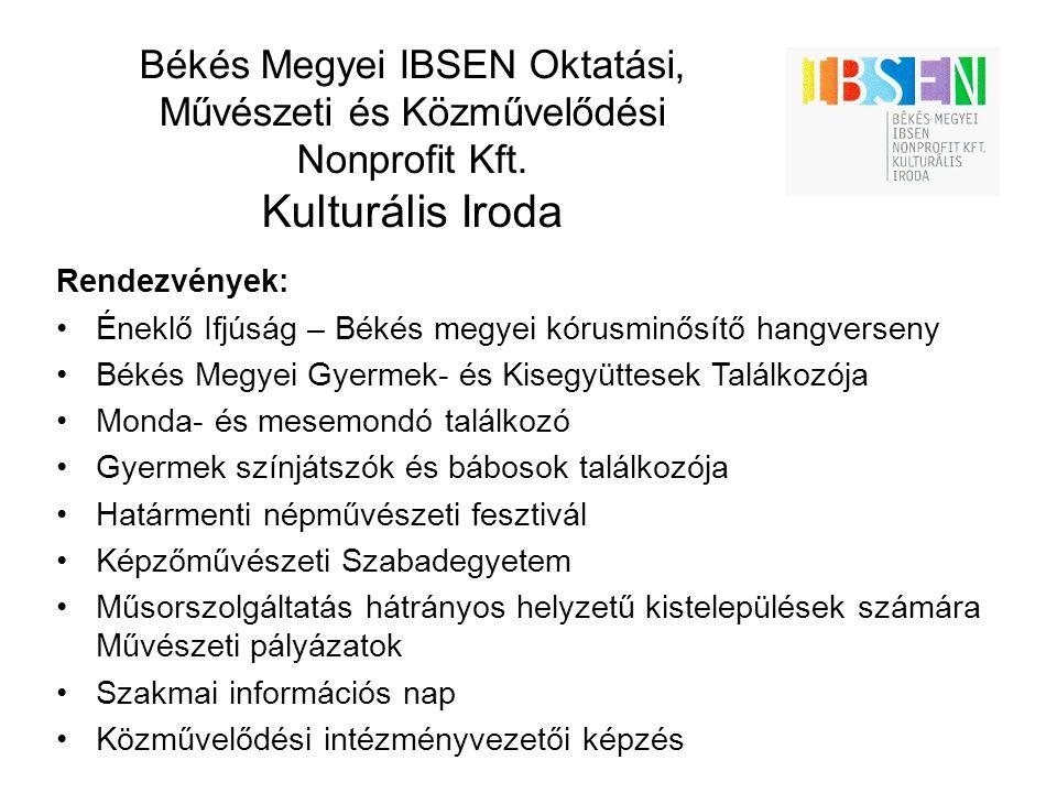 Békés Megyei IBSEN Oktatási, Művészeti és Közművelődési Nonprofit Kft. Kulturális Iroda Rendezvények: Éneklő Ifjúság – Békés megyei kórusminősítő hang