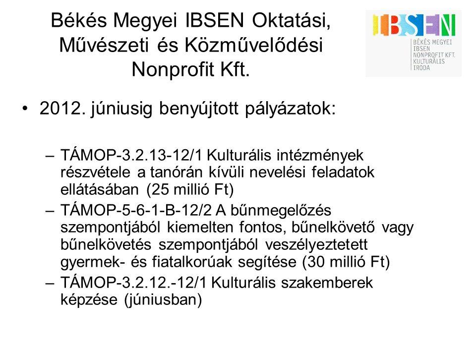 Békés Megyei IBSEN Oktatási, Művészeti és Közművelődési Nonprofit Kft. 2012. júniusig benyújtott pályázatok: –TÁMOP-3.2.13-12/1 Kulturális intézmények