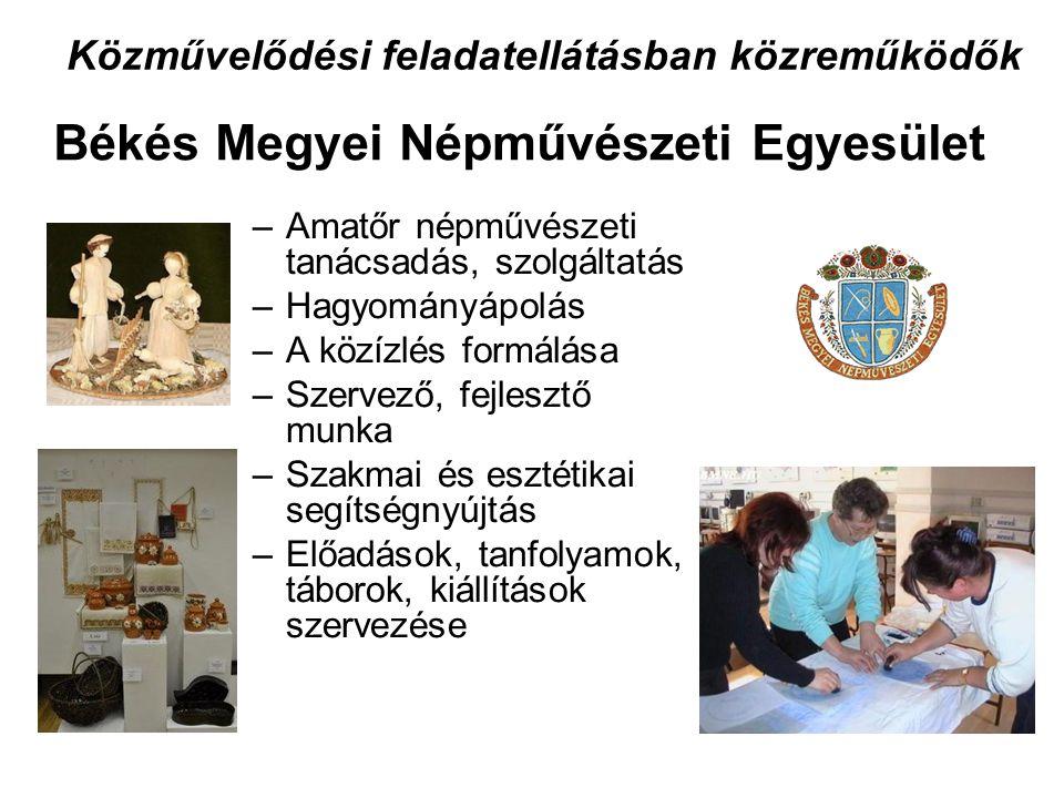 Közművelődési feladatellátásban közreműködők –Amatőr népművészeti tanácsadás, szolgáltatás –Hagyományápolás –A közízlés formálása –Szervező, fejlesztő munka –Szakmai és esztétikai segítségnyújtás –Előadások, tanfolyamok, táborok, kiállítások szervezése Békés Megyei Népművészeti Egyesület