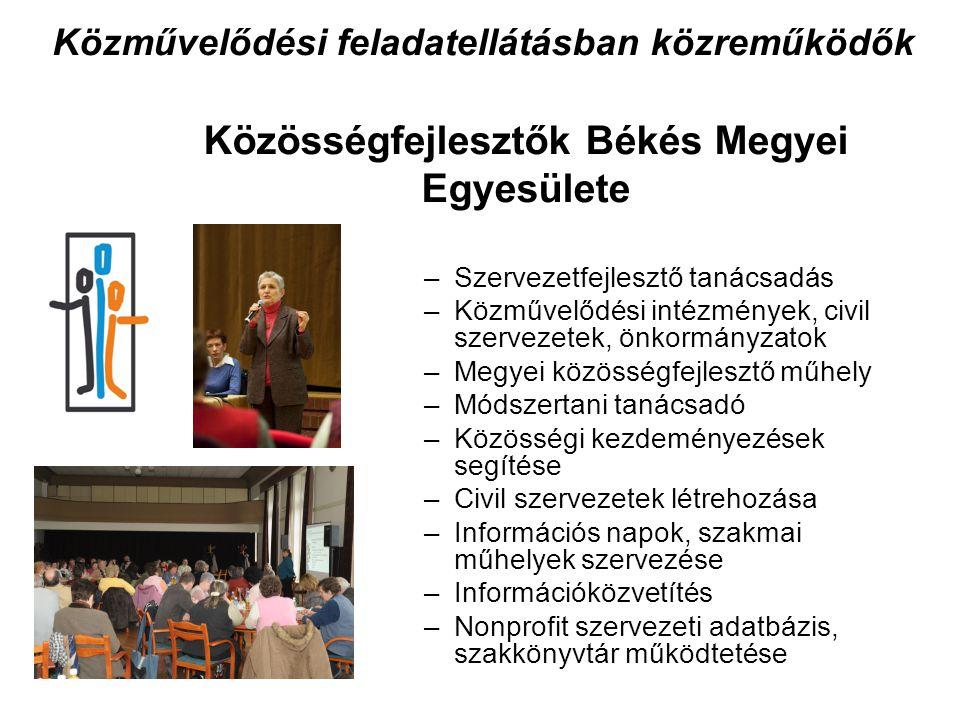 Közösségfejlesztők Békés Megyei Egyesülete –Szervezetfejlesztő tanácsadás –Közművelődési intézmények, civil szervezetek, önkormányzatok –Megyei közösségfejlesztő műhely –Módszertani tanácsadó –Közösségi kezdeményezések segítése –Civil szervezetek létrehozása –Információs napok, szakmai műhelyek szervezése –Információközvetítés –Nonprofit szervezeti adatbázis, szakkönyvtár működtetése Közművelődési feladatellátásban közreműködők