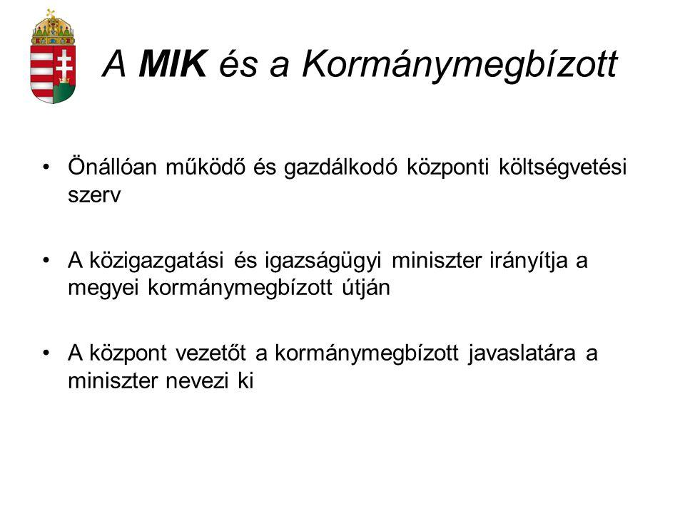 A MIK és a Kormánymegbízott Önállóan működő és gazdálkodó központi költségvetési szerv A közigazgatási és igazságügyi miniszter irányítja a megyei kor