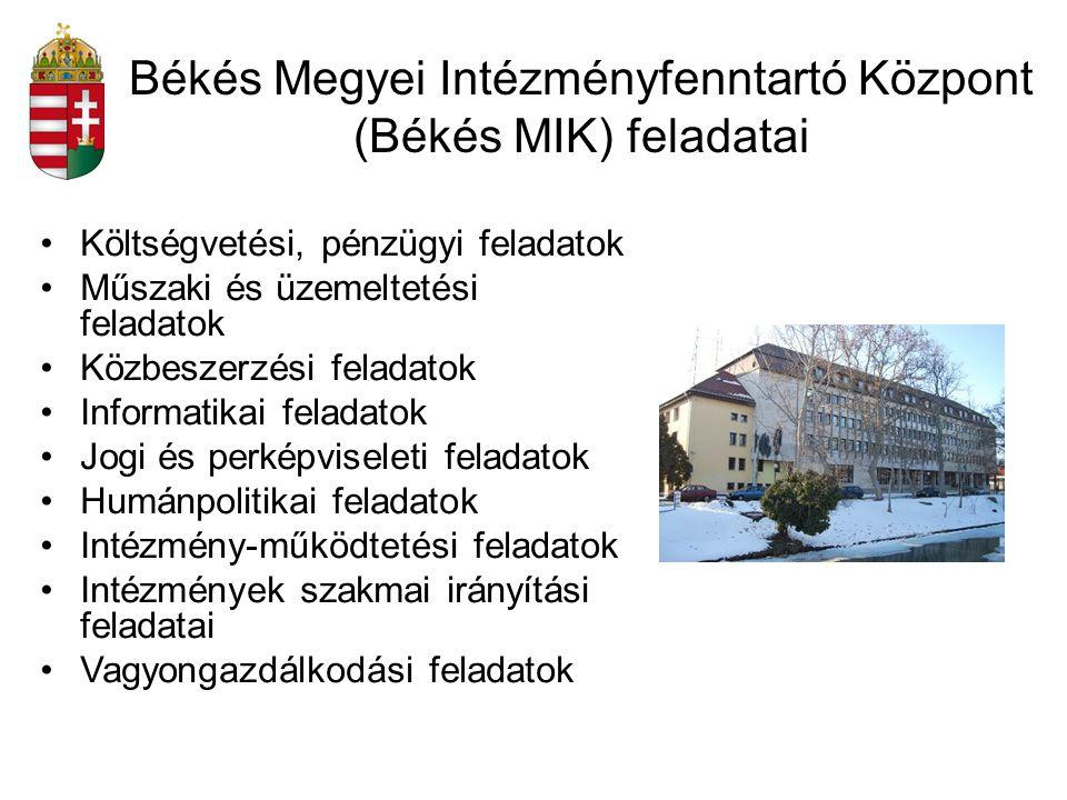 Békés Megyei Intézményfenntartó Központ (Békés MIK) feladatai Költségvetési, pénzügyi feladatok Műszaki és üzemeltetési feladatok Közbeszerzési felada