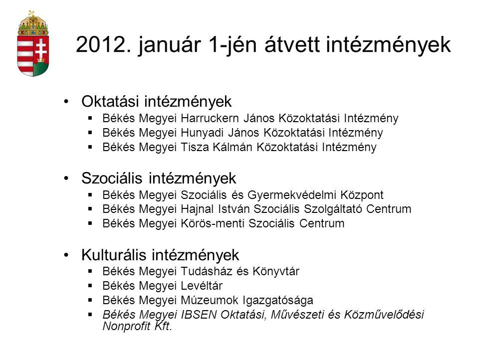 2012. január 1-jén átvett intézmények Oktatási intézmények  Békés Megyei Harruckern János Közoktatási Intézmény  Békés Megyei Hunyadi János Közoktat
