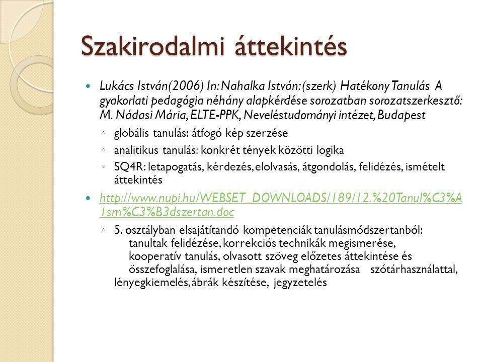 Szakirodalmi áttekintés Dán Krisztina (2001): Olvasásfejlesztés a kerettantervekben In: Könyv és nevelés 2.