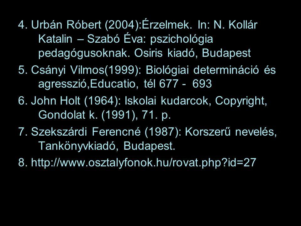 4.Urbán Róbert (2004):Érzelmek. In: N. Kollár Katalin – Szabó Éva: pszichológia pedagógusoknak.