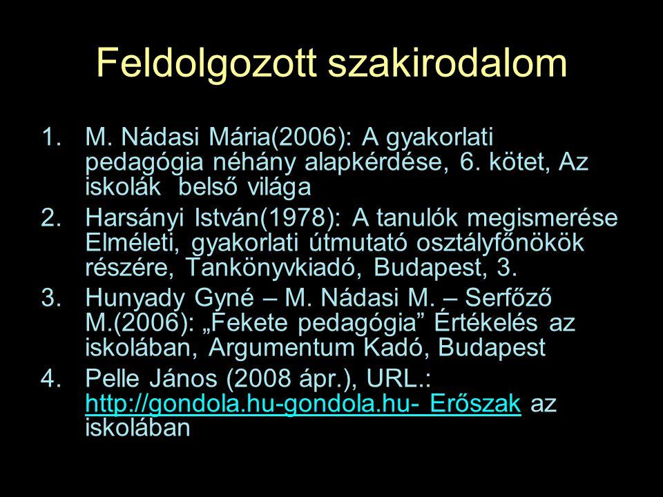 Feldolgozott szakirodalom 1.M.Nádasi Mária(2006): A gyakorlati pedagógia néhány alapkérdése, 6.