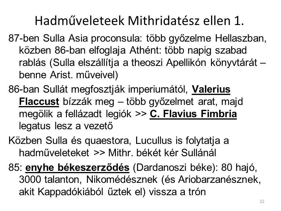 Hadműveleteek Mithridatész ellen 1. 87-ben Sulla Asia proconsula: több győzelme Hellaszban, közben 86-ban elfoglaja Athént: több napig szabad rablás (