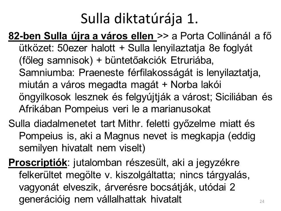 Sulla diktatúrája 1. 82-ben Sulla újra a város ellen >> a Porta Collinánál a fő ütközet: 50ezer halott + Sulla lenyilaztatja 8e foglyát (főleg samniso