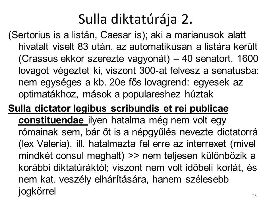 Sulla diktatúrája 2. (Sertorius is a listán, Caesar is); aki a marianusok alatt hivatalt viselt 83 után, az automatikusan a listára került (Crassus ek