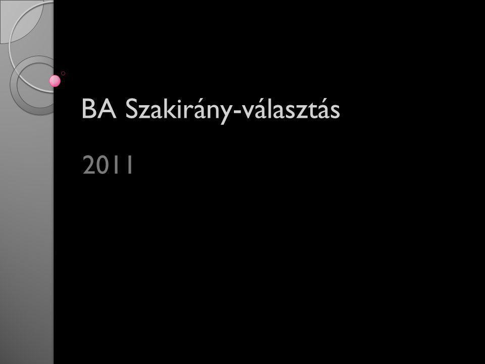 BA Szakirány-választás 2011
