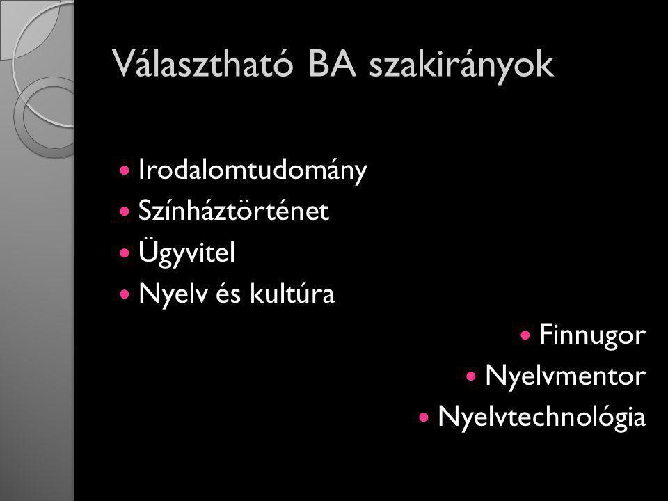 Választható BA szakirányok Irodalomtudomány Színháztörténet Ügyvitel Nyelv és kultúra Finnugor Nyelvmentor Nyelvtechnológia