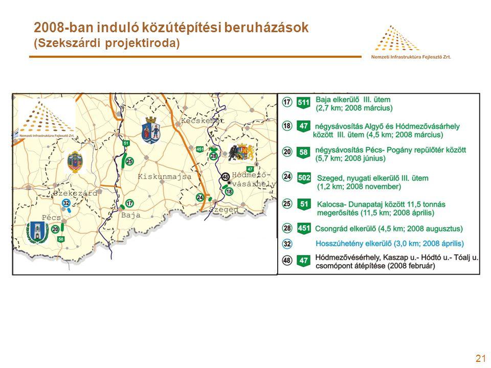 21 2008-ban induló közútépítési beruházások (Szekszárdi projektiroda)