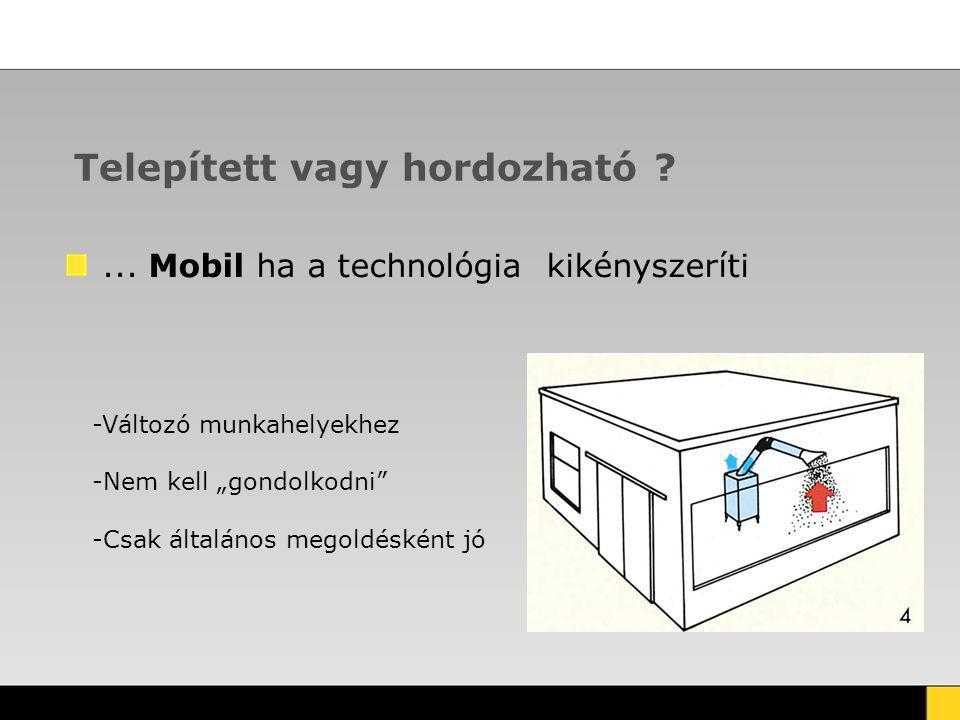 """Telepített vagy hordozható ?... Mobil ha a technológia kikényszeríti -Változó munkahelyekhez -Nem kell """"gondolkodni"""" -Csak általános megoldésként jó"""