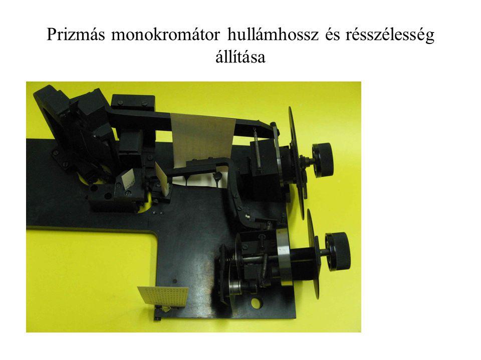 Prizmás monokromátor hullámhossz és résszélesség állítása