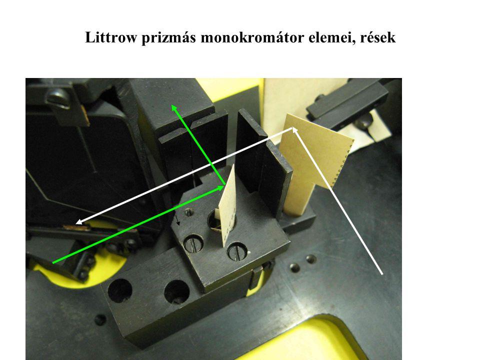 Littrow prizmás monokromátor elemei, rések