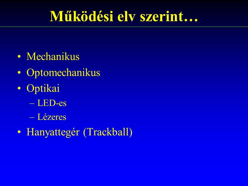 Működési elv szerint… Mechanikus Optomechanikus Optikai –LED-es –Lézeres Hanyattegér (Trackball)