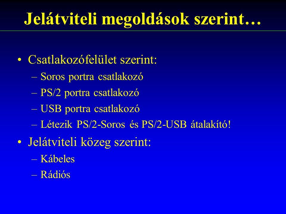Jelátviteli megoldások szerint… Csatlakozófelület szerint: –Soros portra csatlakozó –PS/2 portra csatlakozó –USB portra csatlakozó –Létezik PS/2-Soros